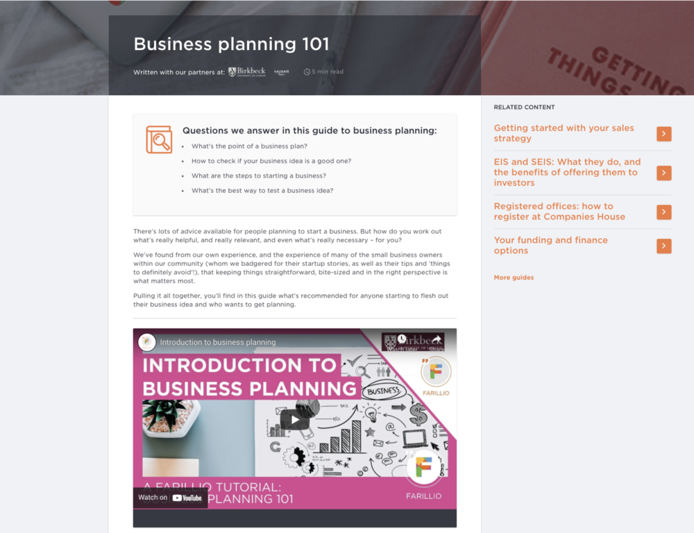 Business planning and ideas testing